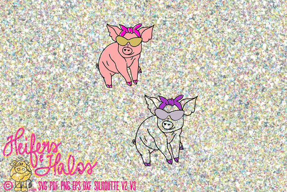 Posh lil piggies with bandana and mirror shades digital file, printable, sublimation, cut file, pdf, png, eps, dxf, studio3 - Heifers and Halos Graphics