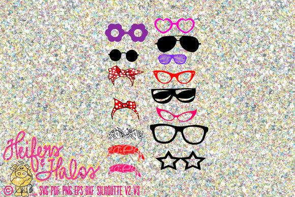 Glasses, sunglasses, and more bandanas digital file, digital cut file, svg, pdf, png, eps, dxf, cricut, silhouette - Heifers and Halos Graphics