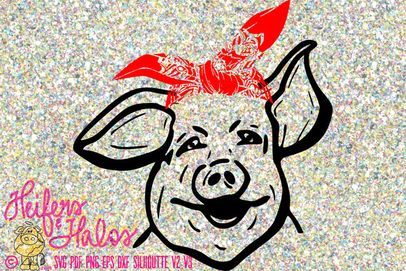 Pig with bandana svg, pdf, png, eps,dxf, studio3, sublimation, print, digital file, cricut, silhouette, brother, cut file - Heifers and Halos Graphics