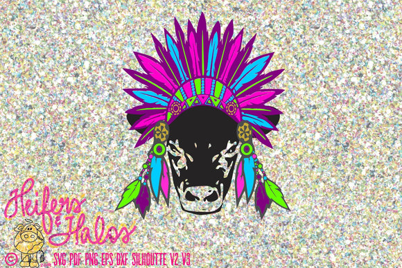 Sitting Bull calf svg cut file, color customizable, cricut, silhouette, western, country, farming, boho, free spirit, t-shirt, decal, yetis - Heifers and Halos Graphics