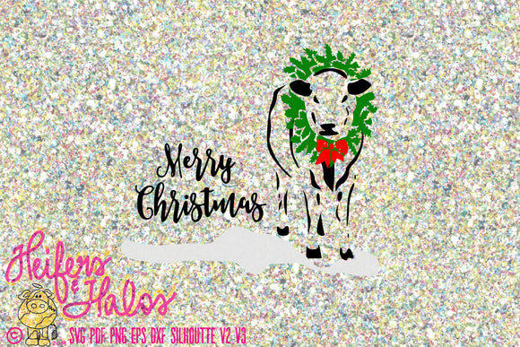 Merry Christmas Holstein cow, cattle, calf, farm Christmas, great for t-shirts, decals, cup design, punchy holiday, ranch, cricut silhouette - Heifers and Halos Graphics