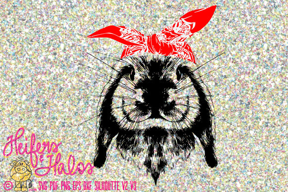 Bandana bunny rabbit digital file for print, sublimation, cricut, silhouette, cutting machines, t-shirt design, svg pdf png eps dxf studio3 - Heifers and Halos Graphics