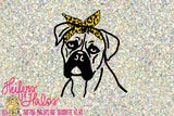 Boxer dog with leopard print bandana digital file, svg, pdf, png, eps, dxf, studio3 for t-shirt, decal, cup designs - Heifers and Halos Graphics