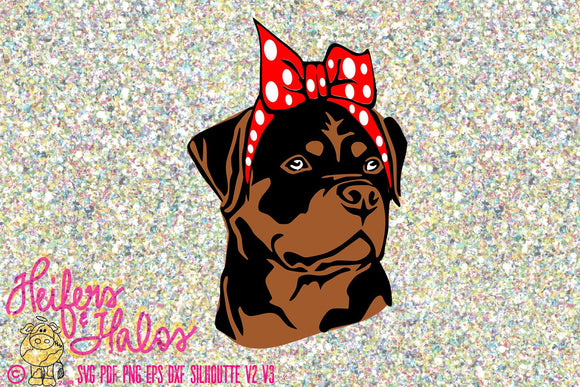 Bandana Rottweiler digital file, digital cut file, sublimation, printable, svg, pdf, png, eps, dxf, bandana dog, cricut, silhouette - Heifers and Halos Graphics