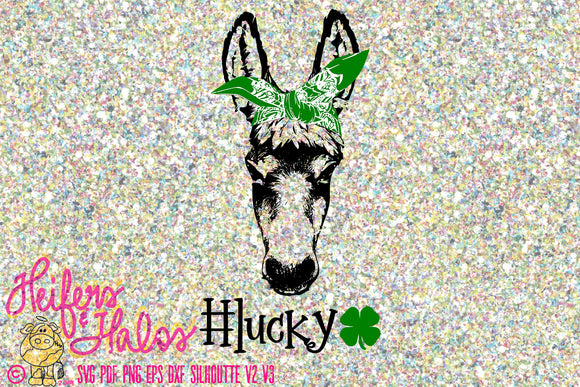 lucky ass bandana donkey digital file, printable, cut file, sublimation, and more  svg, eps, png, pdf, dxf, studio3 - Heifers and Halos Graphics
