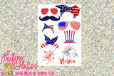 4th of July design elements digital file, bandanas, bows, sunglasses, fireworks.  Svg, pdf, png, eps, dxf - Heifers and Halos Graphics