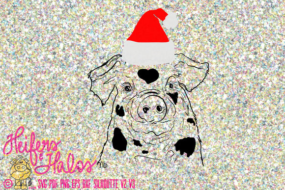 Santa Pig Christmas Country digital cut file for cricut and silhouette. t-shirts, decals, cups, country, ranch, farming, punchy, ranchy - Heifers and Halos Graphics