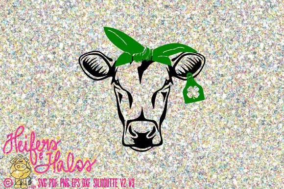 St. Patrick's Day Cow, svg, pdf, png, eps, dxf, studio3, cute for t-shirt, cup, and decal designs, cricut, and silhouette - Heifers and Halos Graphics