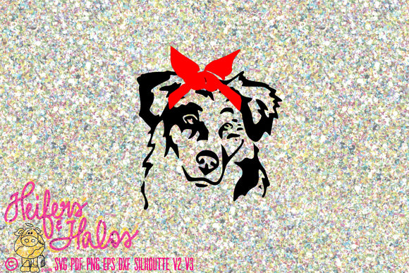 Border collie with bandana, svg, pdf, png, eps, dxf, studio3, print, cut file, sublimation dog - Heifers and Halos Graphics