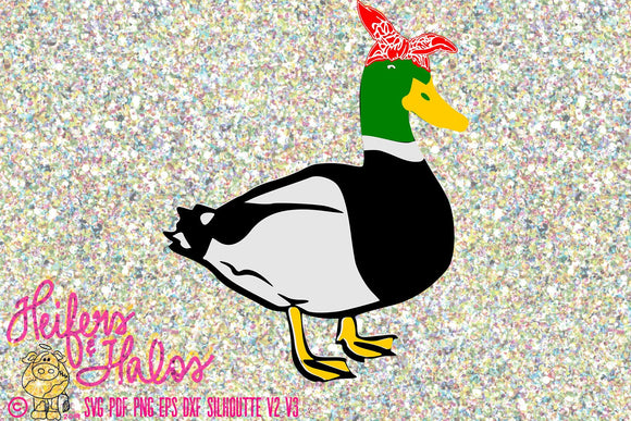 Bandana mallard duck digital file, digital cut file, printable, sublimation svg, pdf, png, eps, dxf, cricut, silhouette, t-shirt design - Heifers and Halos Graphics