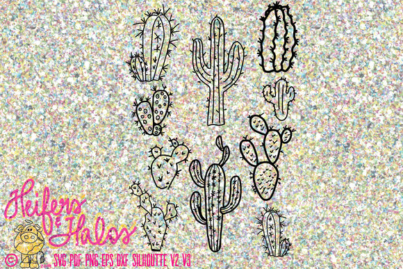Hand drawn cactus bunch, digital file, digital cut file, clip art, printable, svg, pdf, png, eps, dxf, cricut, silhouette - Heifers and Halos Graphics