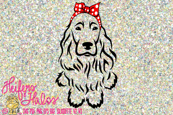 Bandana cocker spaniel digital file, sublimation, printable, digital cut file, svg, pdf, png, eps, dxf, cricut, silhouette - Heifers and Halos Graphics