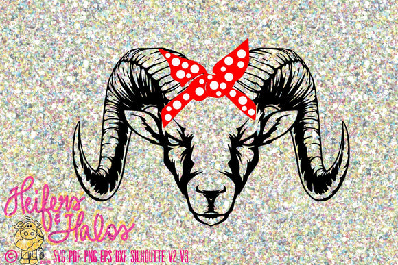 bandana ram digital file, digital cut file, svg, pdf, png, eps, dxf, cricut,silhouette, printable, sublimation, cute animal, mascot - Heifers and Halos Graphics