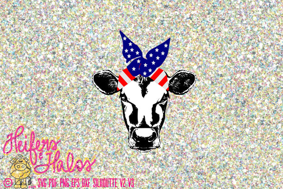Patriotic Bandana heifer svg, png, pdf, eps, dxf cut file for cricut and silhouette, t-shirts, decals, yeti cups, 4th of July patriotic - Heifers and Halos Graphics