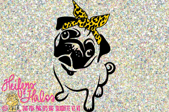 Pug with bandana digital file for cutting machines, sublimation, t-shirt design, printing, cup design, decal design, svg, pdf, png, eps, dxf - Heifers and Halos Graphics