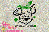 Kiss me I'm Irish with hashtag bandana pig digital file, sublimation, printable, cut file, svg, pdf, png, eps,dxf, studio3, design - Heifers and Halos Graphics