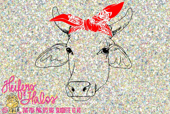 Bandana brahman heifer cow digital file, digital cut file, printable, sublimation, svg, pdf, png, eps, dxf cricut and silhouette - Heifers and Halos Graphics
