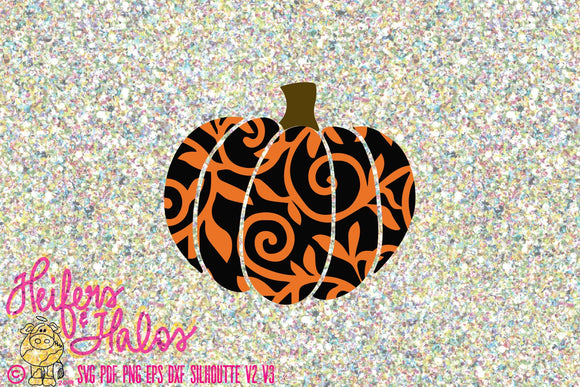 Pumpkin mandala pattern, Halloween pumpkin, fall pumpkin, digital file, digital cut file, cricut, silhouette, svg, pdf, png, eps, dxf studio - Heifers and Halos Graphics