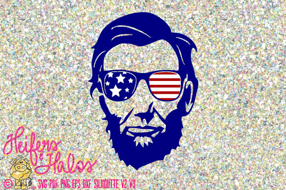 Abe Lincoln svg patriotic, 4th of July, svg, png, eps, dxf, pdf, cricut, silhouette, American flag - Heifers and Halos Graphics