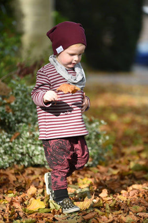 Children's Stripe Sweatshirt ~ Maroon & Grey