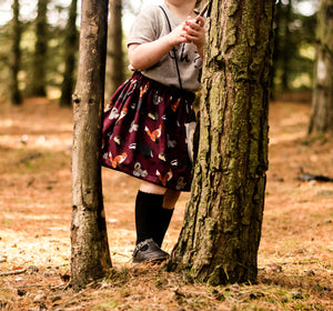 Woodland Animal Skirt ~ Maroon