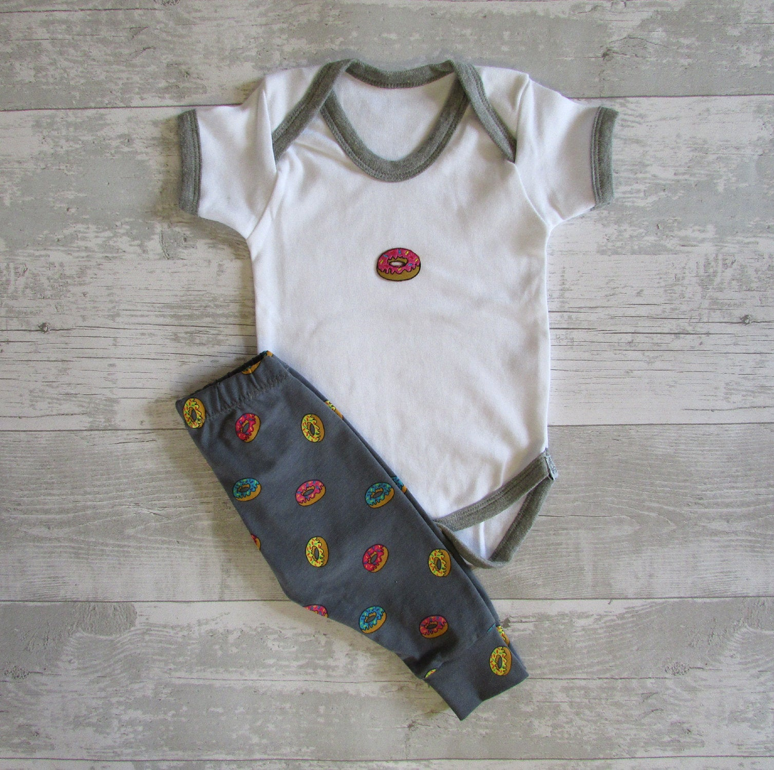 Embroidered Doughnut Baby Grow