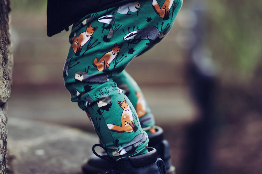 Woodland Animal Leggings ~ Green
