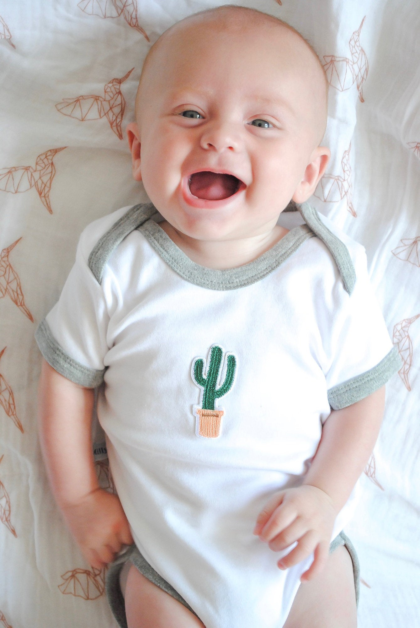 Embroidered Cactus Baby Grow