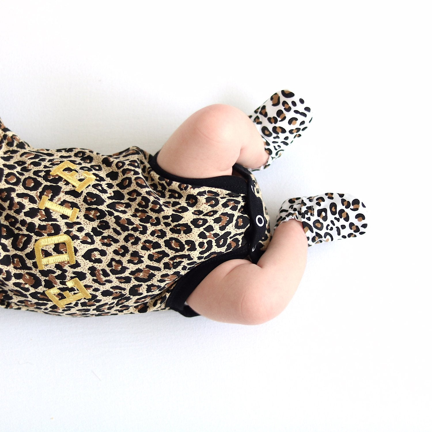 Personalised Leopard Print Baby Grow