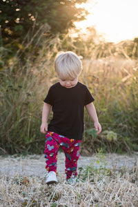 Woodland animal baby leggings ~ Maroon