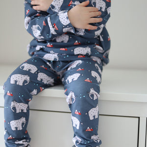 Baby Leggings with Mammoth Design - Blue