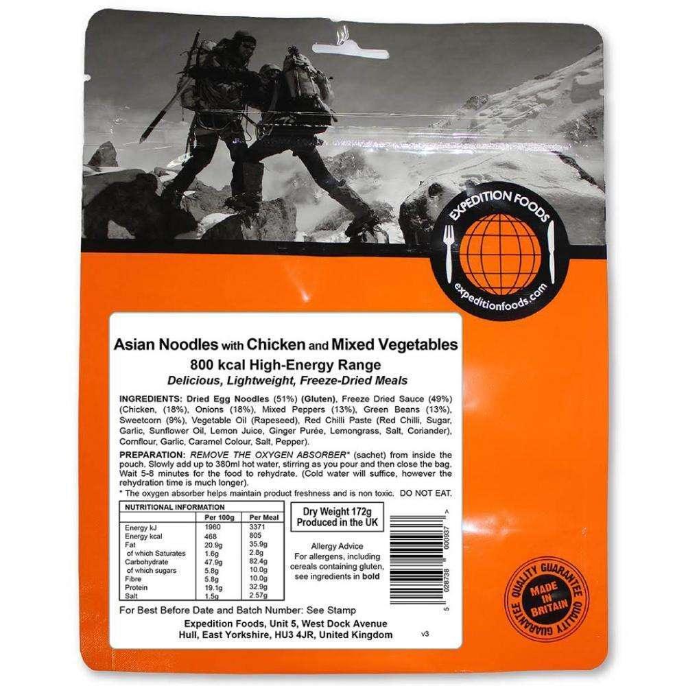 Expedition Foods, Expedition Foods - Asian Noodles with Chicken and Mixed Vegetables (High Energy), Freeze Dried Meals, Wylies Outdoor World,