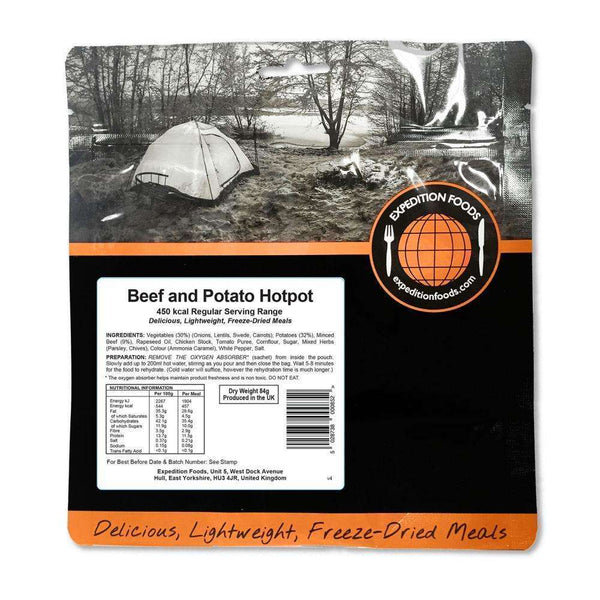 Expedition Foods, Expedition Foods - Beef and Potato Hotpot (Regular Serving), Freeze Dried Meals, Wylies Outdoor World,