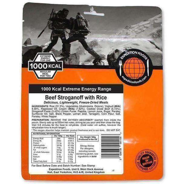 Expedition Foods, Expedition Foods - Beef Stroganoff with Rice (Extreme Energy), Freeze Dried Meals, Wylies Outdoor World,