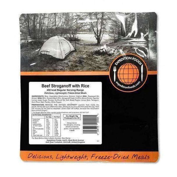 Expedition Foods, Expedition Foods - Beef Stroganoff with Rice (Regular Serving), Freeze Dried Meals, Wylies Outdoor World,