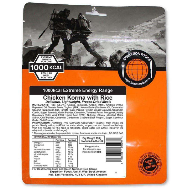 Expedition Foods, Expedition Foods - Chicken Korma with Rice (Extreme Energy), Freeze Dried Meals, Wylies Outdoor World,