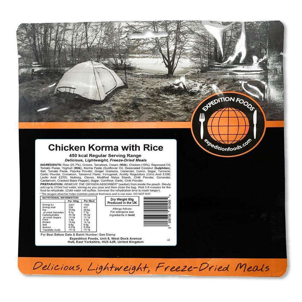 Expedition Foods, Expedition Foods - Chicken Korma with Rice (Regular Serving), Freeze Dried Meals, Wylies Outdoor World,