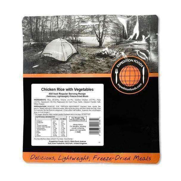 Expedition Foods, Expedition Foods - Chicken Rice with Vegetables (Regular Serving), Freeze Dried Meals, Wylies Outdoor World,