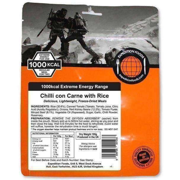 Expedition Foods, Expedition Foods - Chilli con Carne with Rice (Extreme Energy), Freeze Dried Meals, Wylies Outdoor World,