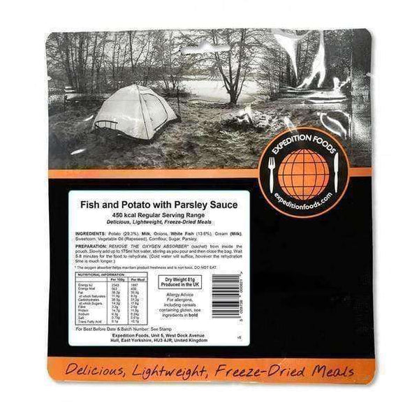 Expedition Foods, Expedition Foods - Fish and Potato with Parsley Sauce (Regular Serving), Freeze Dried Meals, Wylies Outdoor World,