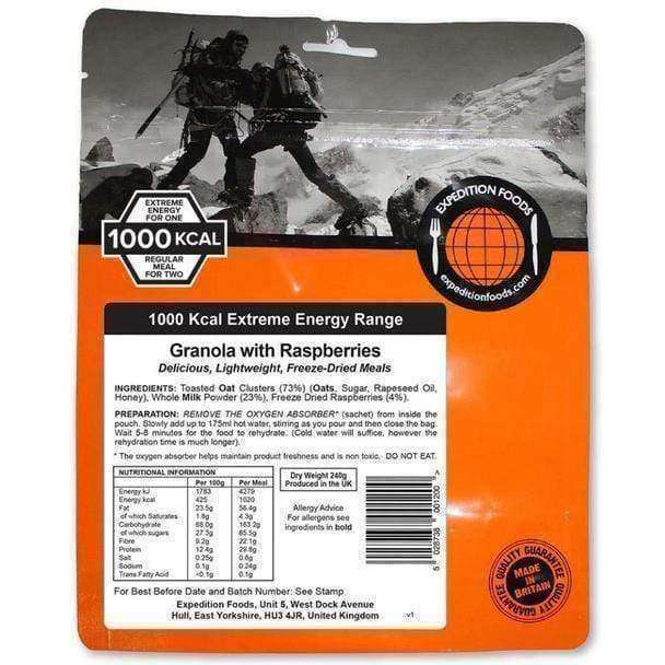 Expedition Foods, Expedition Foods - Granola with Raspberries (Extreme Energy), Freeze Dried Meals, Wylies Outdoor World,