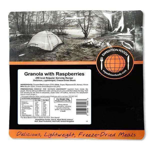 Expedition Foods, Expedition Foods - Granola with Raspberries (Regular Serving), Freeze Dried Meals, Wylies Outdoor World,