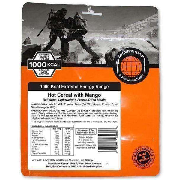 Expedition Foods, Expedition Foods - Hot Cereal with Mango (Extreme Energy), Freeze Dried Meals, Wylies Outdoor World,