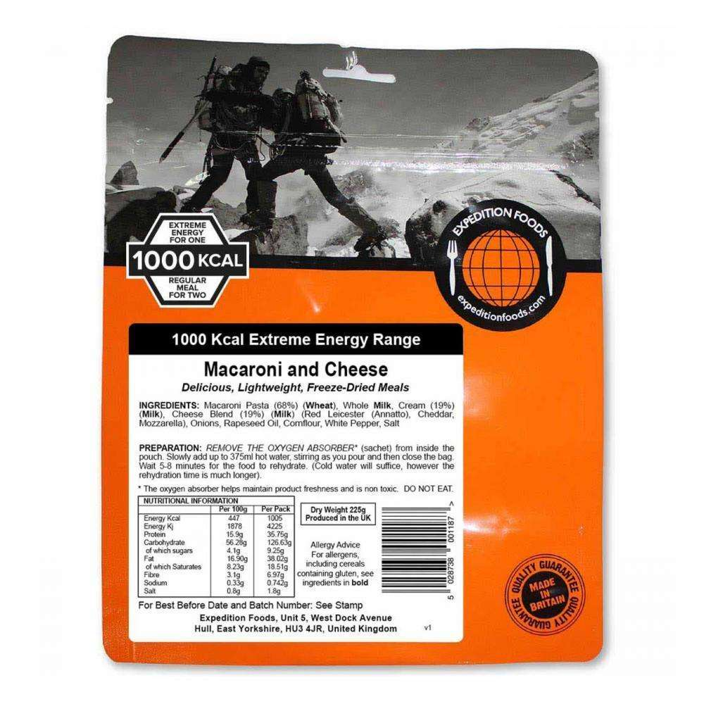 Expedition Foods, Expedition Foods - Macaroni and Cheese (Extreme Energy), Freeze Dried Meals, Wylies Outdoor World,