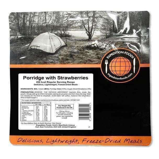 Expedition Foods, Expedition Foods - Porridge with Strawberries (Regular Serving), Freeze Dried Meals, Wylies Outdoor World,