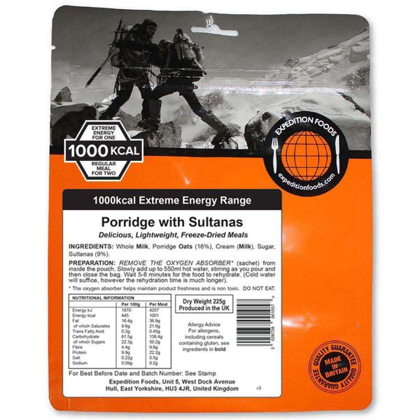 Expedition Foods, Expedition Foods - Porridge with Sultanas (Extreme Energy), Freeze Dried Meals, Wylies Outdoor World,