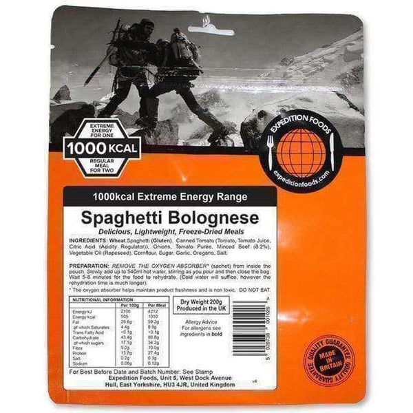 Expedition Foods, Expedition Foods - Spaghetti Bolognese (Extreme Energy), Freeze Dried Meals, Wylies Outdoor World,