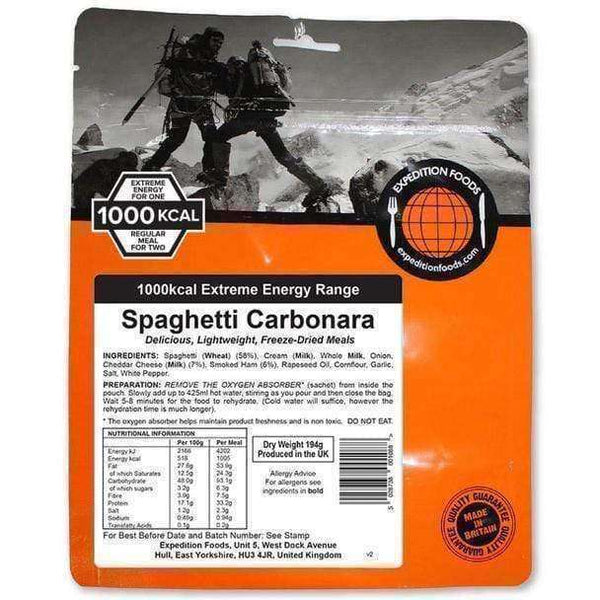 Expedition Foods, Expedition Foods - Spaghetti Carbonara (Extreme Energy), Freeze Dried Meals, Wylies Outdoor World,