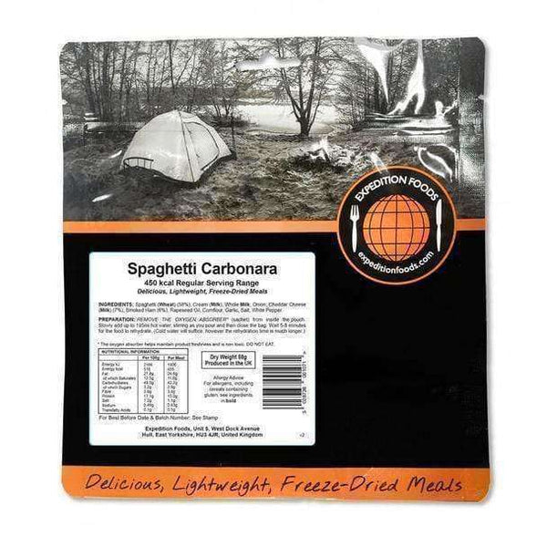 Expedition Foods, Expedition Foods - Spaghetti Carbonara (Regular Serving), Freeze Dried Meals, Wylies Outdoor World,