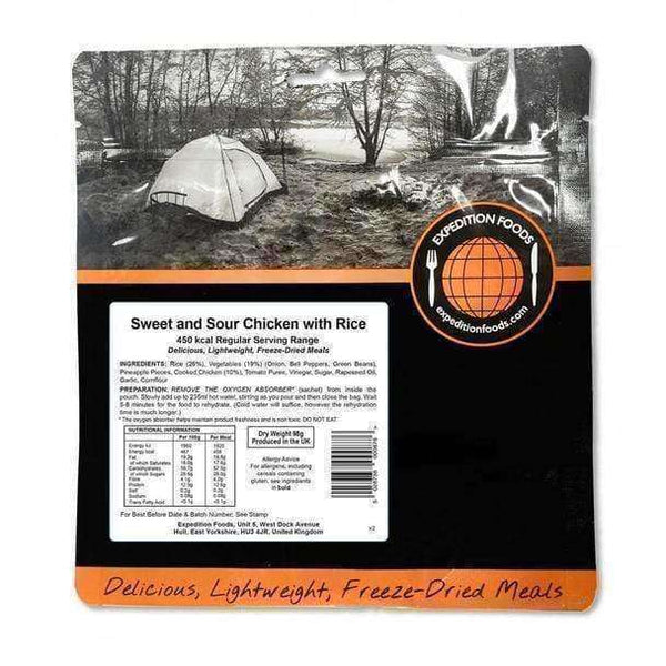 Expedition Foods, Expedition Foods - Sweet and Sour Chicken with Rice (Regular Serving), Freeze Dried Meals, Wylies Outdoor World,